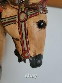 Antique Rocking Horse Wood Carousel Hand Painted Carved with Iron Wheels Vintage