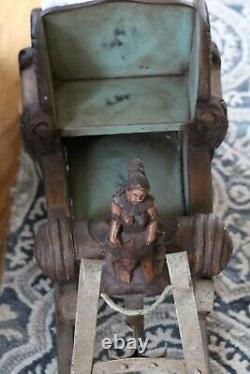Antique Scandinavian Hand Carved Painted Wood Figure Iron Childs Sleigh Sled 19C