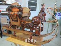 Antique/Vintage Hand Carved Painted Wood Figure Iron Sleigh Sled