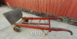 Antique Wood & Iron 2 Wheel Industrial Hand Cart, Dolly architectural Design