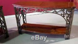 Best Hand Wrought Iron Inlaid Mahogany Oscar Bach Art Deco Style Console Tables