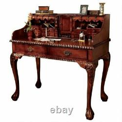 Chateau Anjou 18th Century French Replica Hand Carved Mahogany 54 Demi-Desk