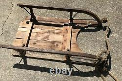 Circa 1910 Snow Sled Hand Made & Forged Iron &Wood Michigan Farm 36x20x8 WithRope