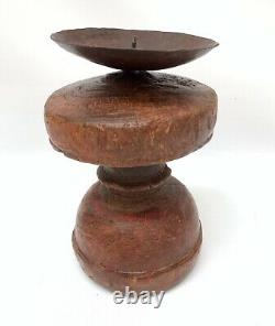 Early Antique Primitive Wood Candle Holder Iron Drip Catch Hand Carved 7 1/2