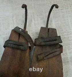 Early Primitive Hand Forged Iron & Wood Ice Skates with Curl tips