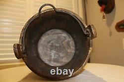 Early Wrought Iron Water Well Bucket Wood Primitive Farm Blacksmith Hand Made