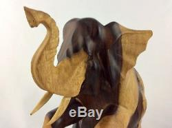 Elephant Hand Carved From(Sono) Iron Wood With Excellent Details. 10 T By 10W