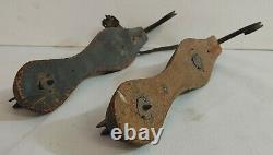 Fabulous Antique Pair of Hand Wrought Iron Ice Skates Mid to Late 19th Century