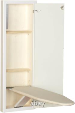 Fold Out Iron Board Cabinet White Wood Adjustable Right/Left Hand Comfort Use