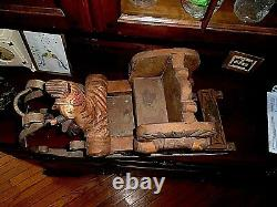 Great Old Folk Art Carved Wooden & Iron Sleigh Hand Painted. Woman & Dogs