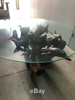 Hand Carved Ironwood School of Dolphins Coffee Table with Beveled Glass Top