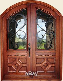 Hand-Crafted Solid Wood & 12 Gauge Wrought Iron Entry Doors 72 X 96