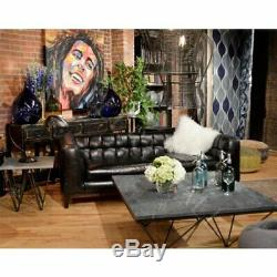 Hand Finished Vintage Black 100% Leather Sofa Iron Frame Contemporary