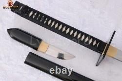 Hand Forged Japanese Ninja-to 1095 Steel Clay Tempered Sword in Sword Sharp Edge