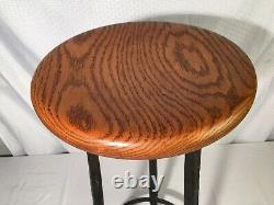 Hand Forged Wrought Iron Stool Signed J. Graney 1983 Mcm Art Design