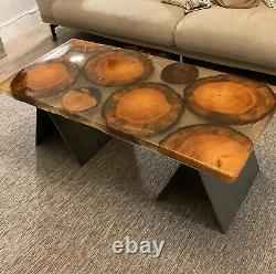Hand Made Wood Log and Epoxy Resin Coffee Table, Modern Rustic style