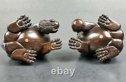 Intricately Hand Carved Signed Ironwood Wood Chinese Foo Dogs Ball in Mouth Cage