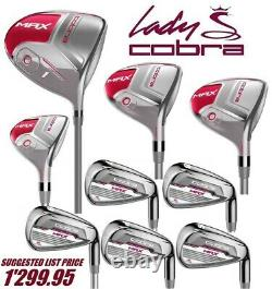 LEFT HAND COBRA Pink #1 Driver #3 #5 Woods #6 Women's Hybrid 7-8-9-PW Irons SET