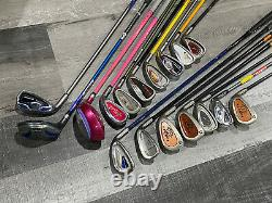 LOT (17) JUNIOR GOLF CLUBS Right & Left Handed Irons Woods USKG Nike Ping Barbie
