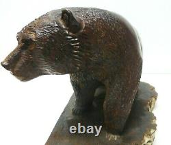 Large Ironwood Bear On Base Sculpture Hand Carved By Seri Sonoran Artist
