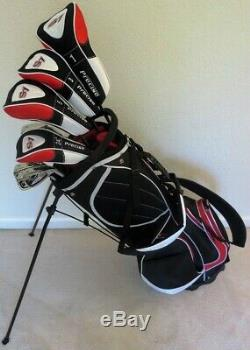 Mens Golf Set Driver, Woods, Hybrid, Irons, Putter, Stand Bag Stiff Right Handed