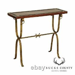 Mid-Century Mexican Artisan Forged Iron Hand Carved Hacienda Console Table