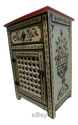 Moroccan Hand Painted Nightstand Wood Table Arabic Design Furniture Beige