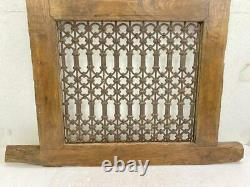 Old Antique Rare Wooden & Rustic Iron Hand Carved Multipurpose Jali / Air Window