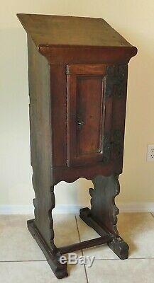 Old Antique Solid Wood Hand Forged Iron Lectern Church Podium Pulpit Lock & Key