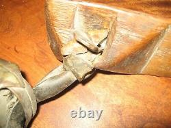 Primitive Cow Sheep Goat Brass Iron Bell Hand Carved Oak Wood Collar Antique
