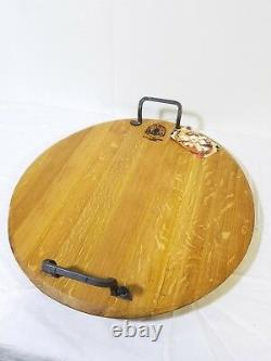 Provence Platter from reclaimed oak wine barrel wood, hand forged Iron handles