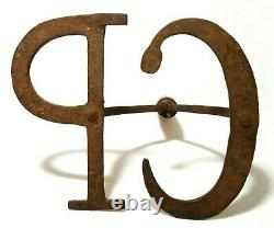 Rare 19th C Am. West Antique Cp Hand Forged, Cut-out Cast Iron Cow Branding Iron