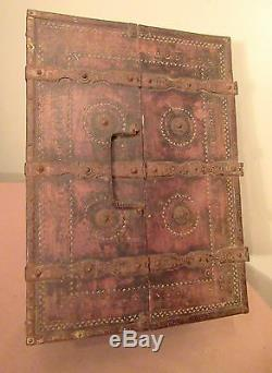 Rare antique 18th C India Hand-Carved wood wrought iron Dowry Chest Box 1700's
