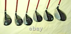 Set Left Handed Dunlop DDH Golf Clubs 4 x Woods 2 x Utility Clubs 5-9 Irons
