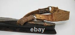 Shapely Curl Tip Ice Skates Hand Forged Iron & Wood Old Vintage Antique Leather