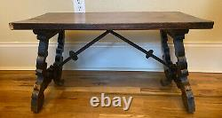 Small Vintage Spanish Catalan Hand Carved Wood & Iron Side Accent Coffee Table