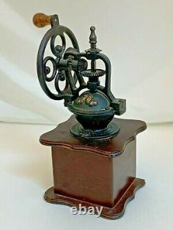 VINTAGE ANTIQUE HAND CRANK COFFEE GRINDER WithPULL OUT DRAWER IRON/WOOD 11'' TALL