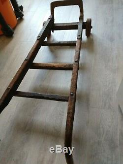VINTAGE ANTIQUE HAND TRUCK Dolly WOOD AND IRON DOLLY FULLY FUNCTIONAL