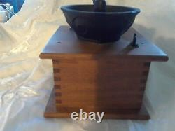 Vintage Coffee Bean Grinder Mill Hand Crank Dovetail Wood Cast Iron