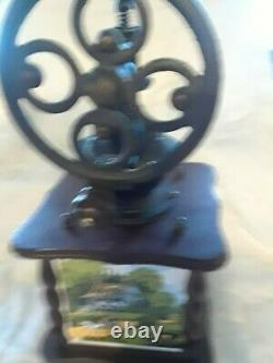 Vintage Coffee Grinder Mill Hand Wood Cast Iron Dove Tail Kitchen Décor