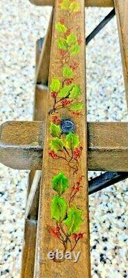 Vintage German or Swiss Wood / Iron Child's Sled with Hand-Painted Christmas Holly