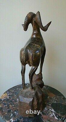 Vintage Ironwood Hand Carved Big Horn Mountain Ram Statue Sculpture 20