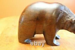 Vintage Ironwood Wood Hand Carved 4x6.25x10 Smooth Brown Bear Figure & Fish