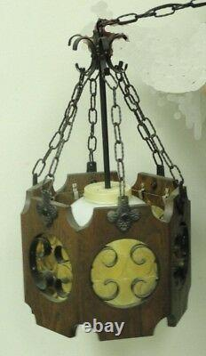 Vintage Italian Hand Forged Iron + Wood Lantern with Ceded Glass Hanging Lamp