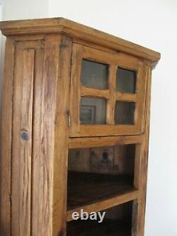 Vintage Solid Wood Corner Piece Furniture Hand Made/Carved in Mexico-79Hx24W