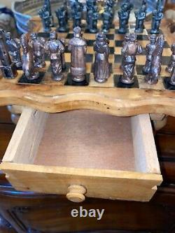 Vintage rare Hand carved wooden Chess Board with Cast Iron Chess pieces/ Nights