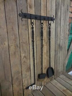 Wrought iron fireplace tool set, Hand forged, Blacksmith made, Metal decor