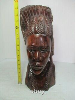 Zimbabwe Hand Carved African Iron Wood Wooden Statue Head / Feathers 16 Tall